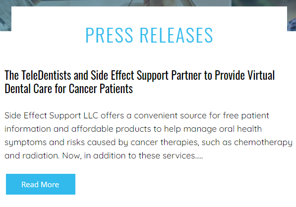 The TeleDentists and Side Effect Support Partner to Provide Virtual Dental Care for Cancer Patients