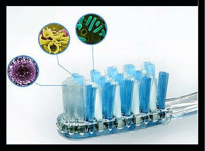 Head of toothbrush with blue bristles with images of germs in caption bubbles