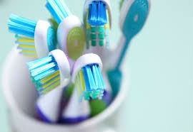 Multiple Toothbrushes in cup on white background