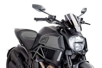 Puig Naked New Generation Sport Screen To Suit Ducati Diavel (2014-2018) - Dark Smoke