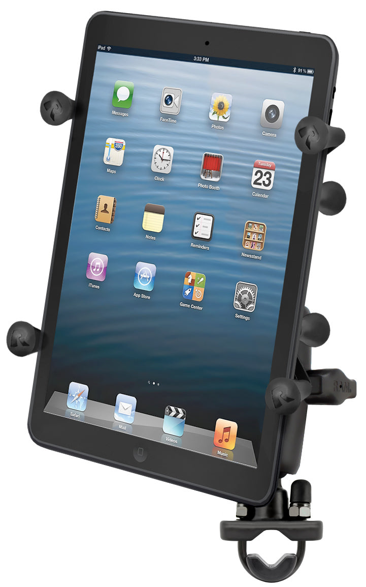 RAM-B-149Z-UN8U - RAM Handlebar Rail Mount with Zinc Coated U-Bolt Base and Universal X-Grip II Holder for Small Tablets