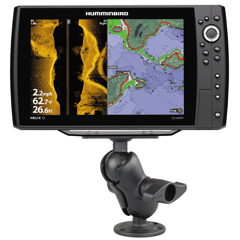RAM-D-202-25-C-202U - RAM 2.25  Ball Mount with 3.68  Round Base  2  x 5  Rectangular Plate for the Humminbird Helix 9, 10  12