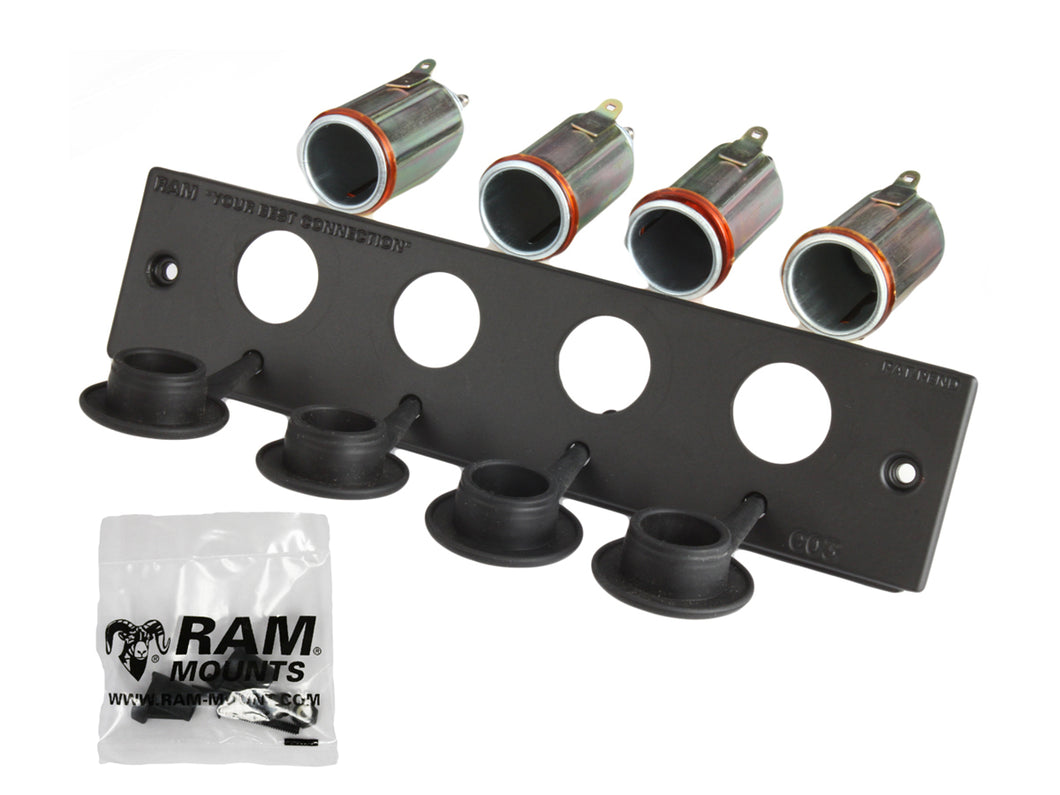 RAM-FP2-CIG4 - (4 QTY) RAM 12 Volt Lighter Receptacle Faceplate