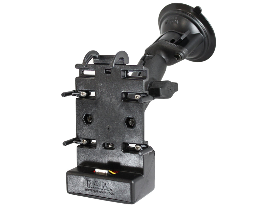 RAP-B-166-CO5PU :: RAM Composite Twist-Lock Suction Cup Mount with Universal Powered Cradle for HP iPaq