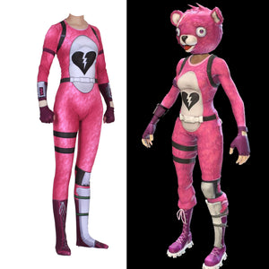 fortnite halloween cuddle team leader pink bear cosplay costume jumpsuit woman - pink cuddle bear fortnite