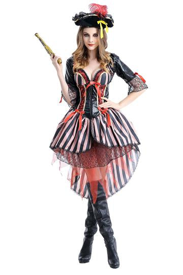 BFJFY Women Pirate Stripe Costume Halloween Cosplay Outfit - BFJ Cosmart