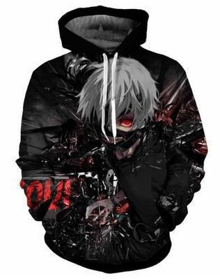BFJ Tokyo Ghoul Kaneki Ken Hooded Sweater 3D Printing Coat Leisure Sports Sweater Autumn And Winter - BFJ Cosmart