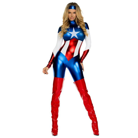 BFJFY Women's Captain America Superhero Jumpsuit Shine On This Halloween - BFJ Cosmart