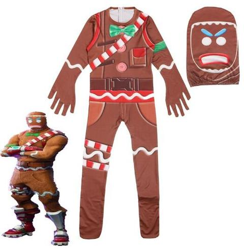 BFJFY Boy's Fortnite Cosplay Costume Gingerbread Man Jumpsuit For Halloween - BFJ Cosmart