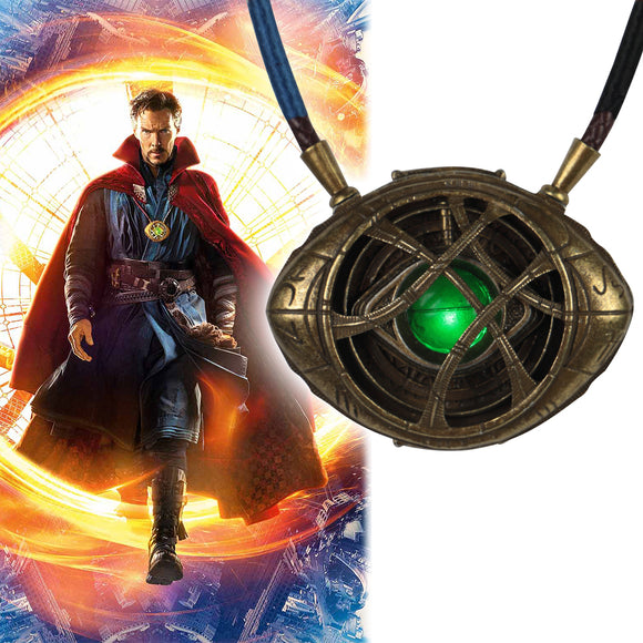 Doctor Strange LED Light Necklace Steve Eye of Agamotto Necklace Eyes Can Open Cosplay Props New - BFJ Cosmart