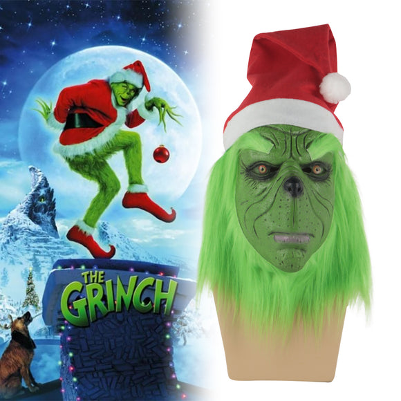 Funny Grinch Stole Christmas Latex Mask Gloves XMAS Costume Adult Party Mask Grinch Cosplay Carnival Face Masks - BFJ Cosmart
