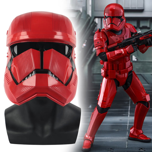 New Star Wars 9 The Rise of Skywalker Sith Trooper Red mask Cosplay Halloween latex  Helmets Prop - BFJ Cosmart