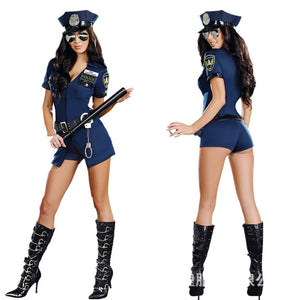 Women's Sexy Blue Police Mini Dress Cop Cosplay Halloween Costume - BFJ Cosmart