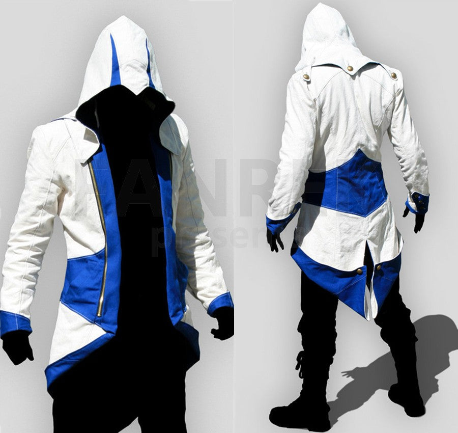 Assassin S Creed 3 Cosplay Connor Kenway Blue Jacket Hoodies Bfj