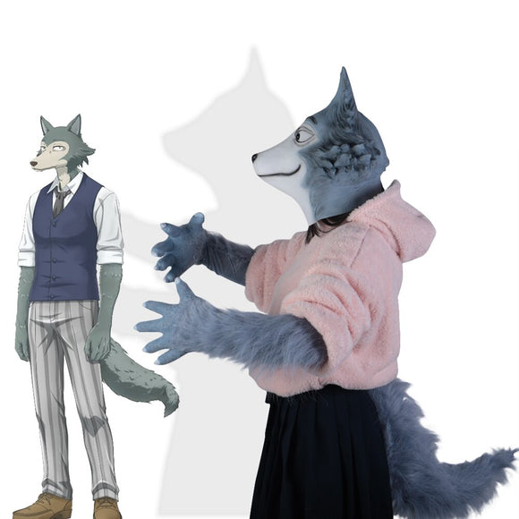 Anime BEASTARS Legoshi The Wolf Costumes Face Helmet Gloves Tail Cosplay Animal Wolf Helmet Masquerade Costume Props - BFJ Cosmart