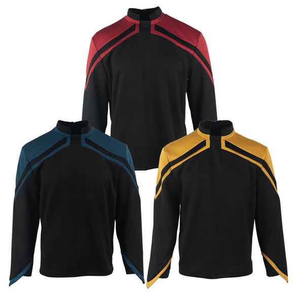Star Trek Admiral JL Picard Uniform Cosplay Startfleet Male Red Gold Blue Men Top Shirts Coat Adult Halloween Costume Prop - BFJ Cosmart