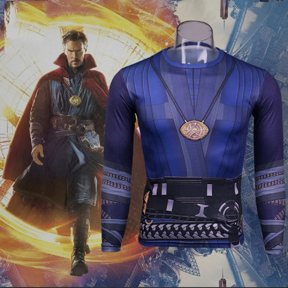 2016 Movie Doctor Strange Costume Cosplay T-Shirt Stephen Vincent Tee Necklace Shirt Halloween Party - BFJ Cosmart