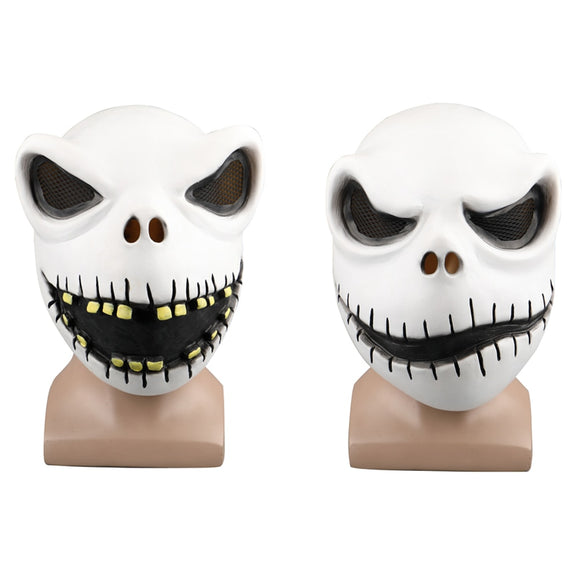 Movie The Nightmare Before Christmas Jack Skellington Cosplay Face Masks Pumpkin King Full Head White Latex Props Halloween Gift - BFJ Cosmart