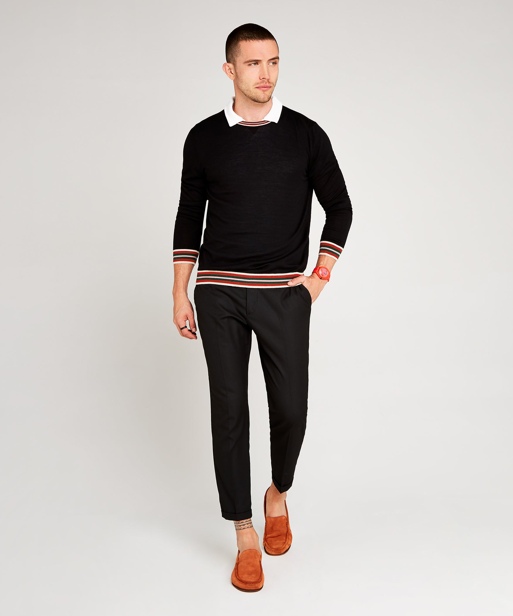 Black Extrafine Merino Crew Neck