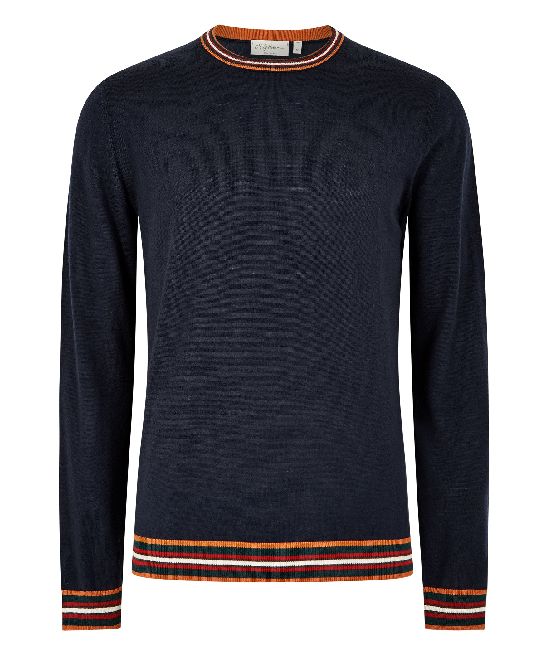 Navy Extrafine Merino Crew Neck