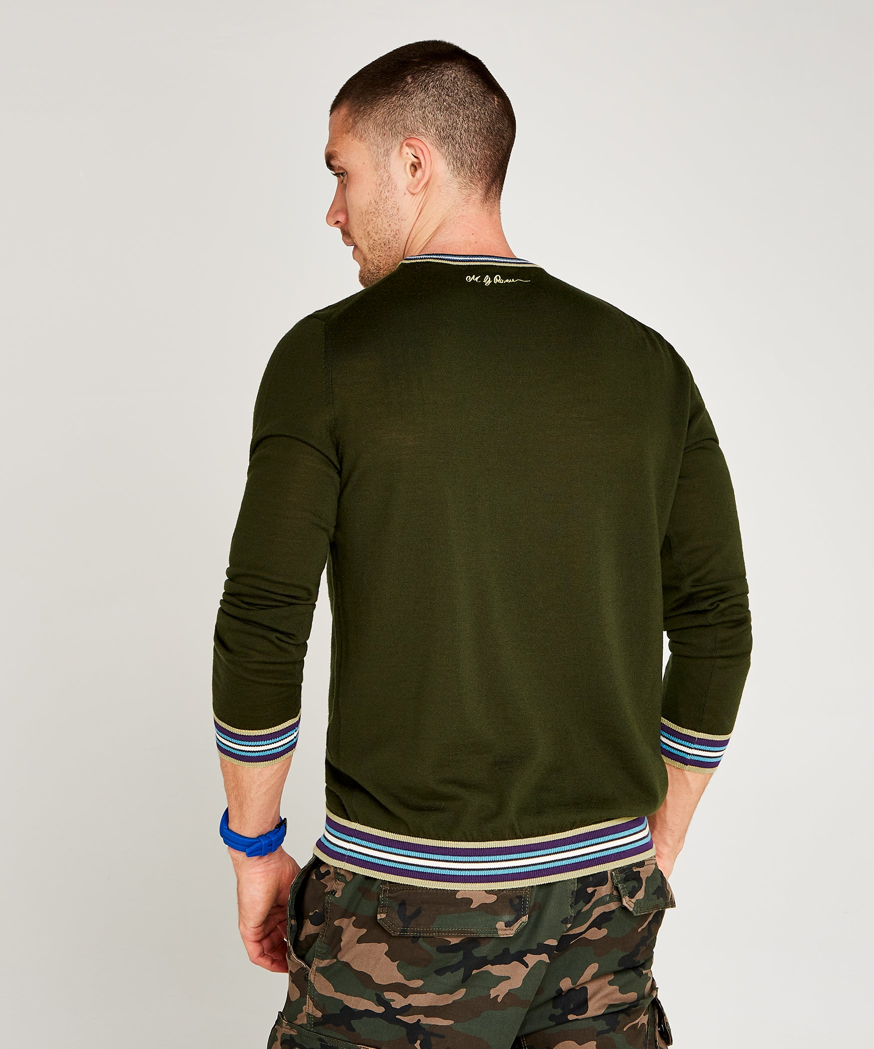 Olive Green Extrafine Merino Crew Neck