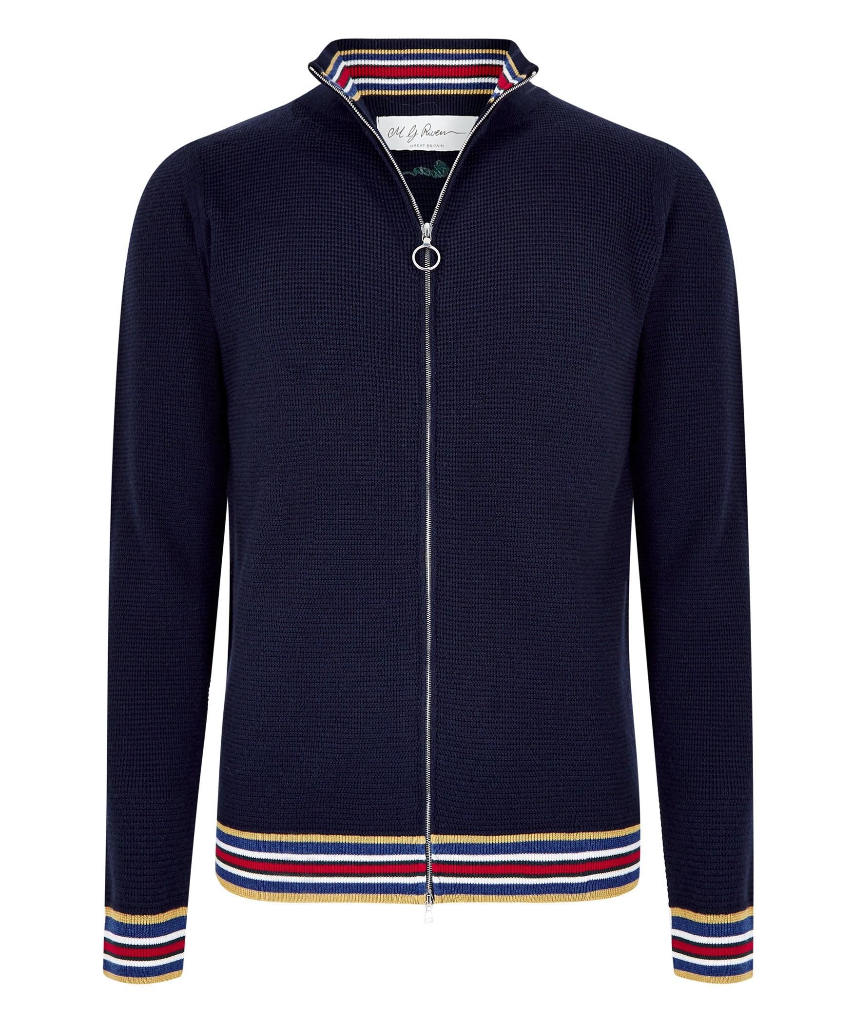 Navy Extrafine Merino Textured Bomber Jacket