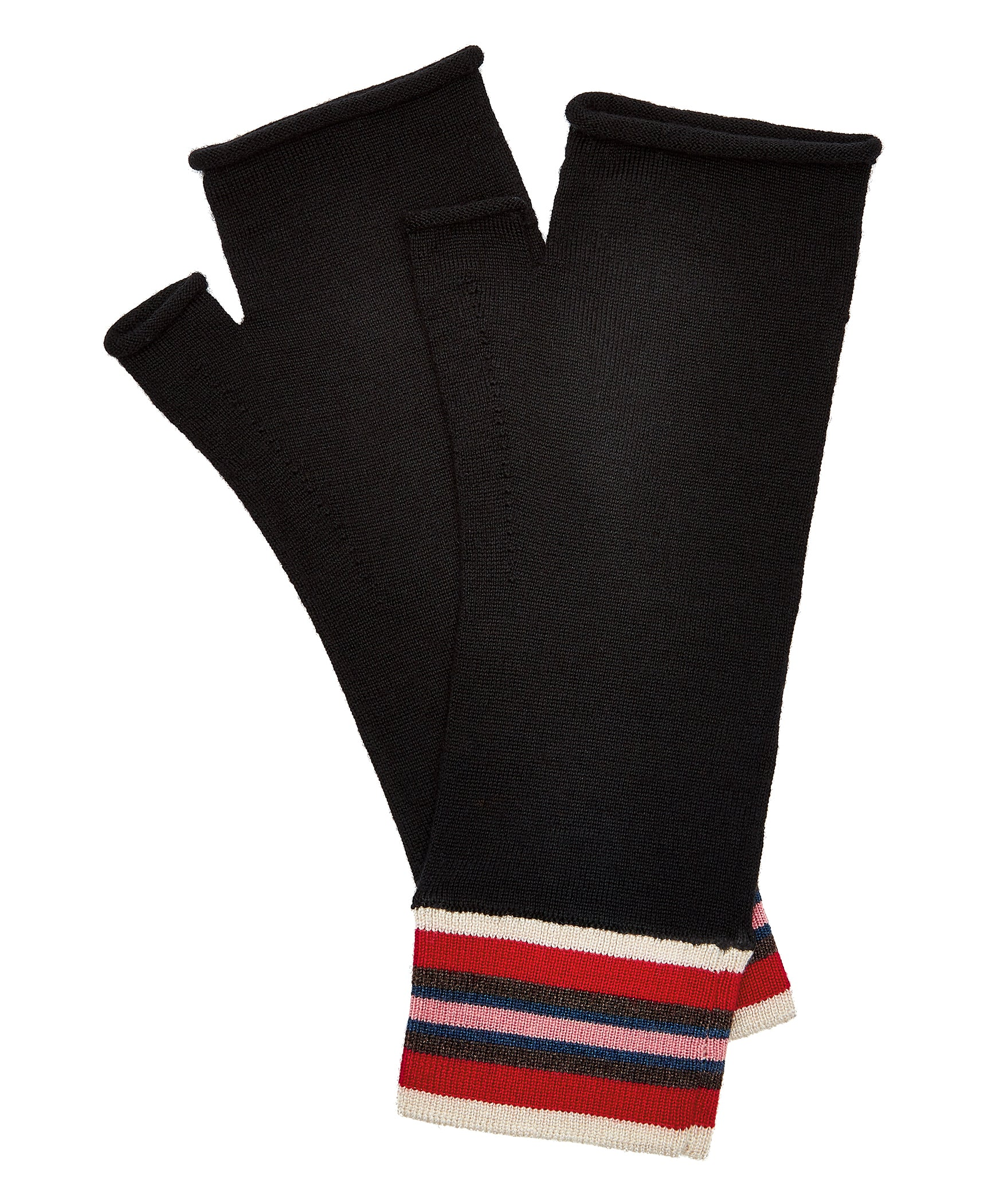 Black Extrafine Merino Fingerless Gloves