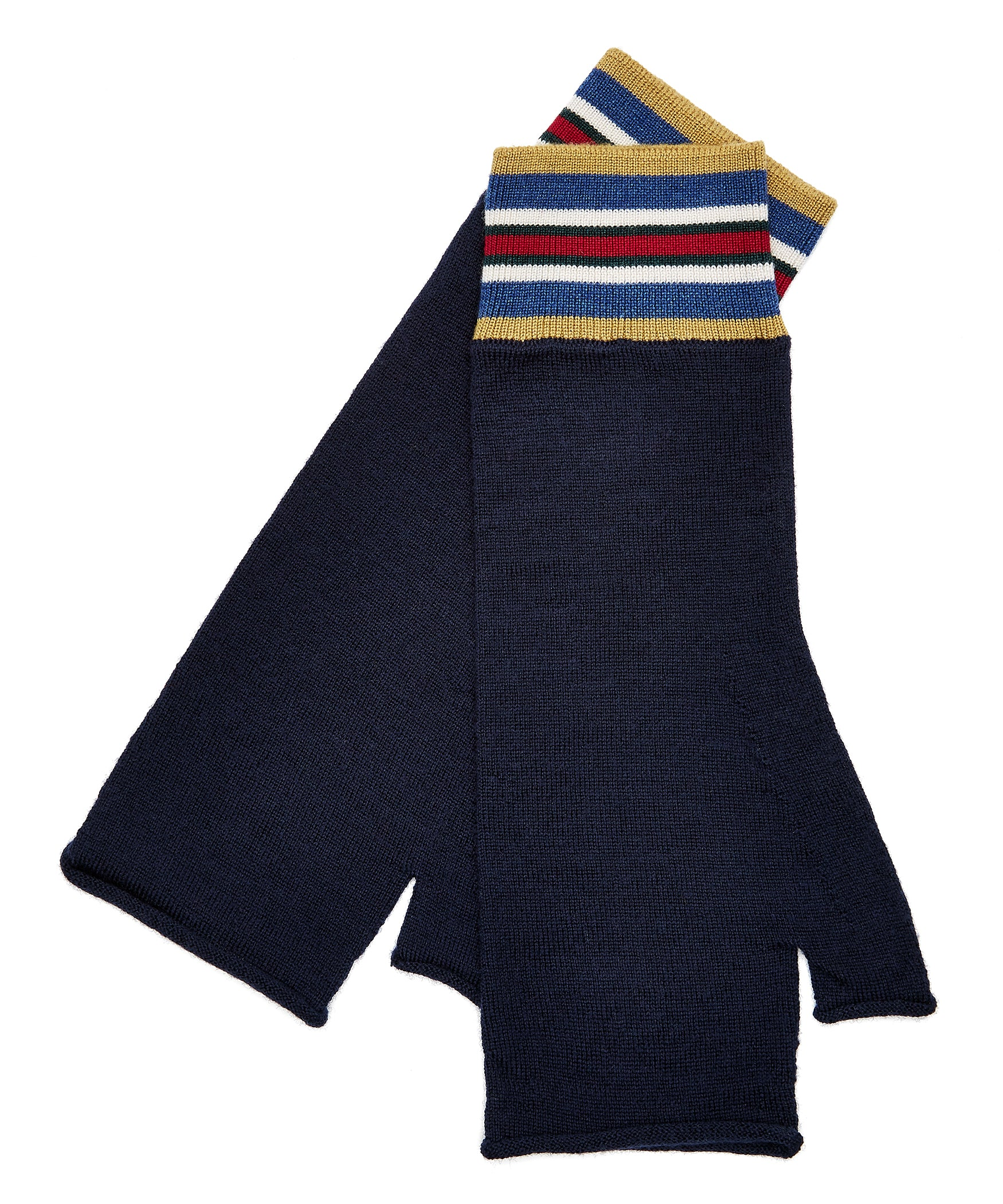 Navy 2 Extrafine Merino Fingerless Gloves
