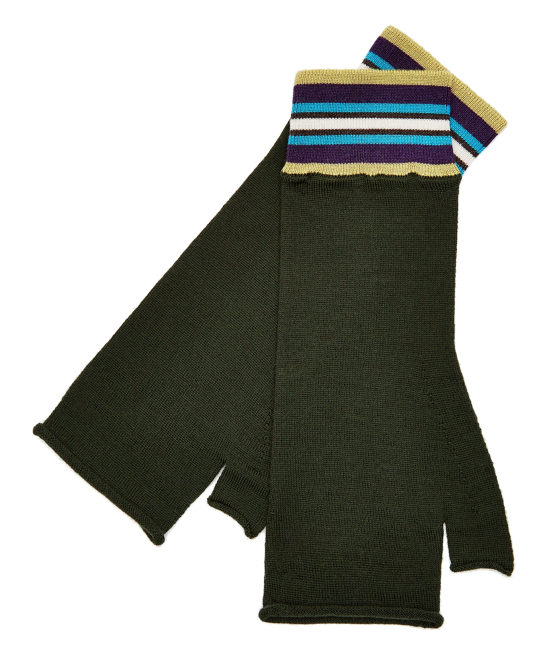 Olive Green Extrafine Merino Fingerless Gloves