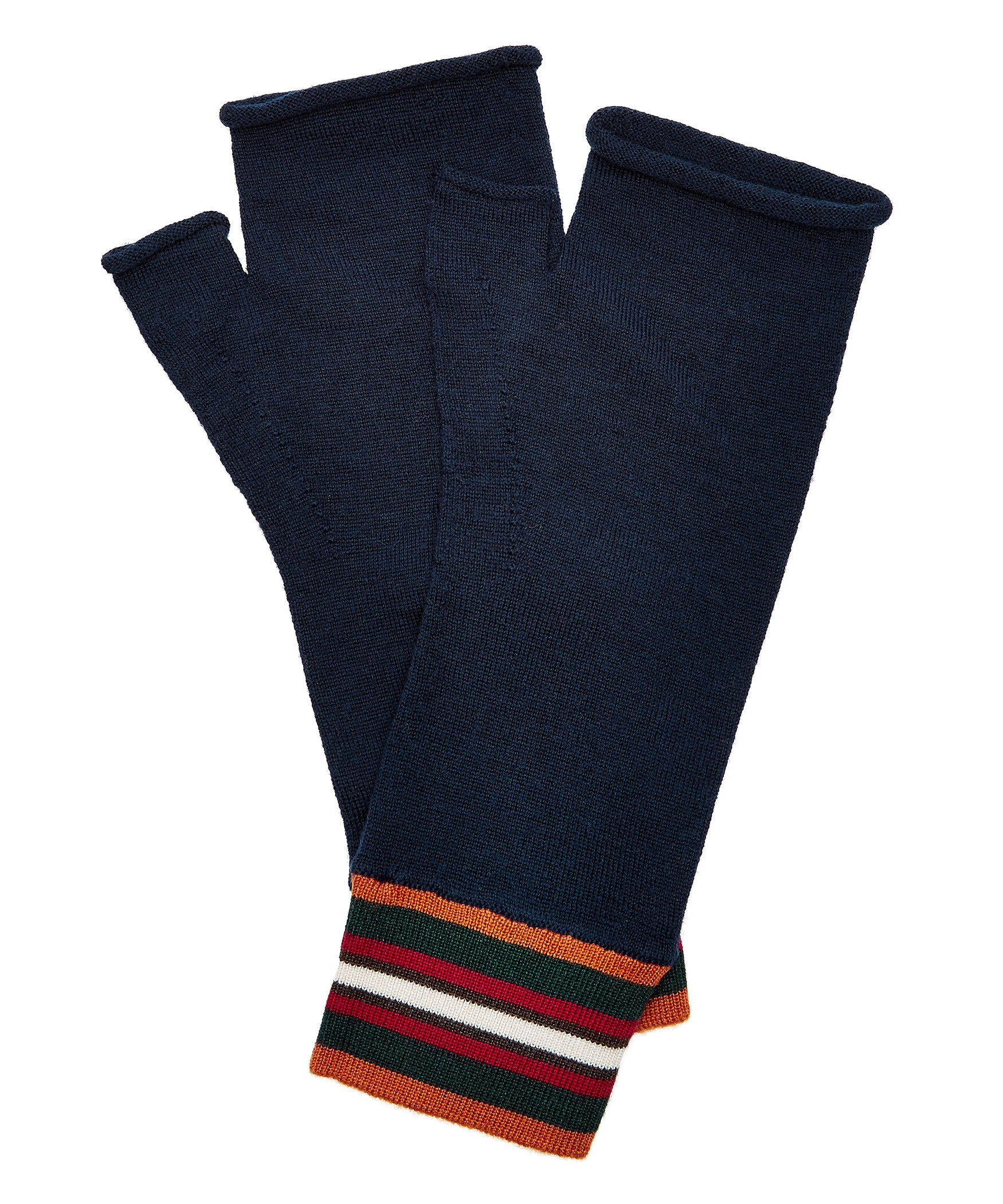 Navy Extrafine Merino Fingerless Gloves