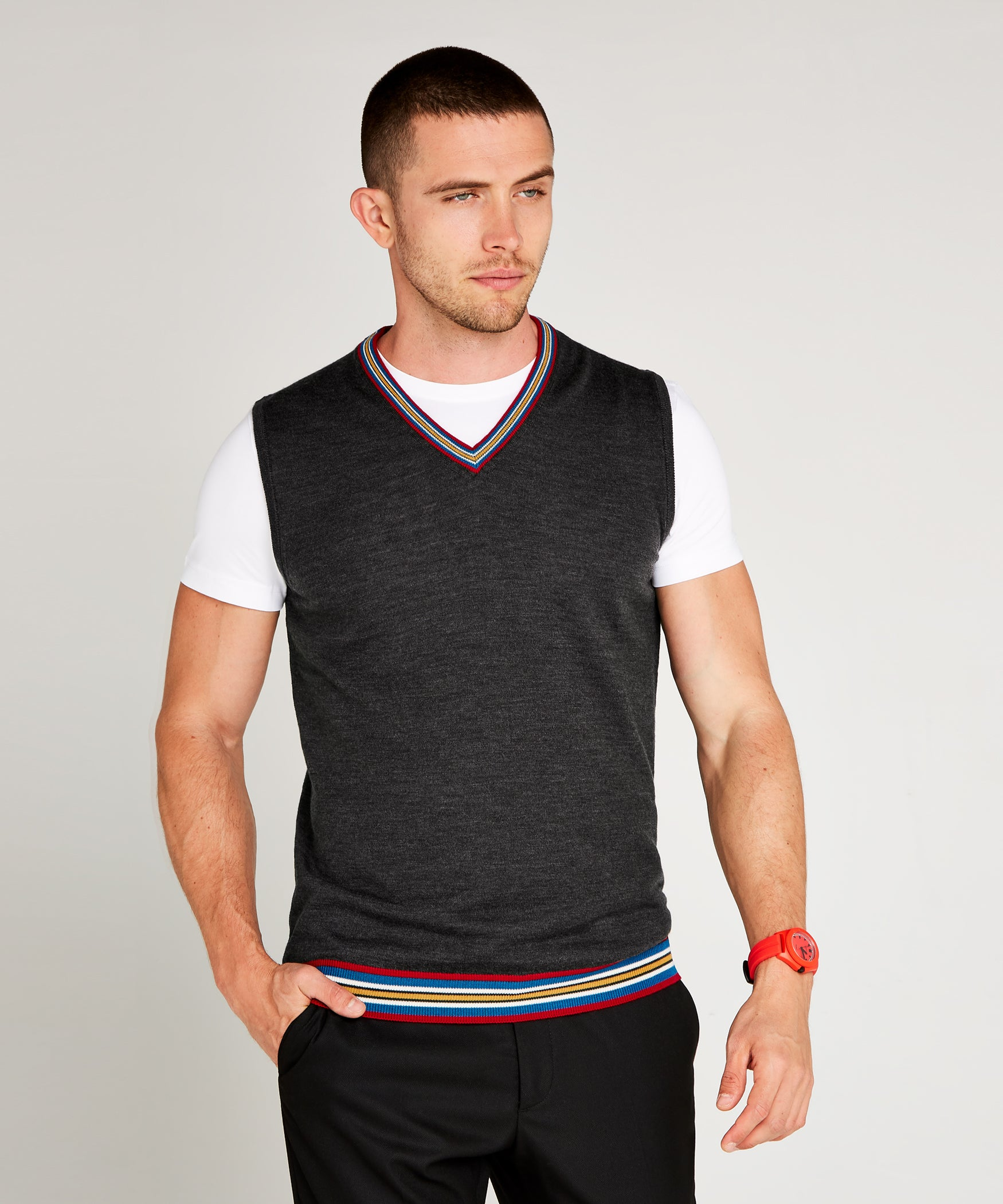 Slate Grey Extrafine Merino Tank Top