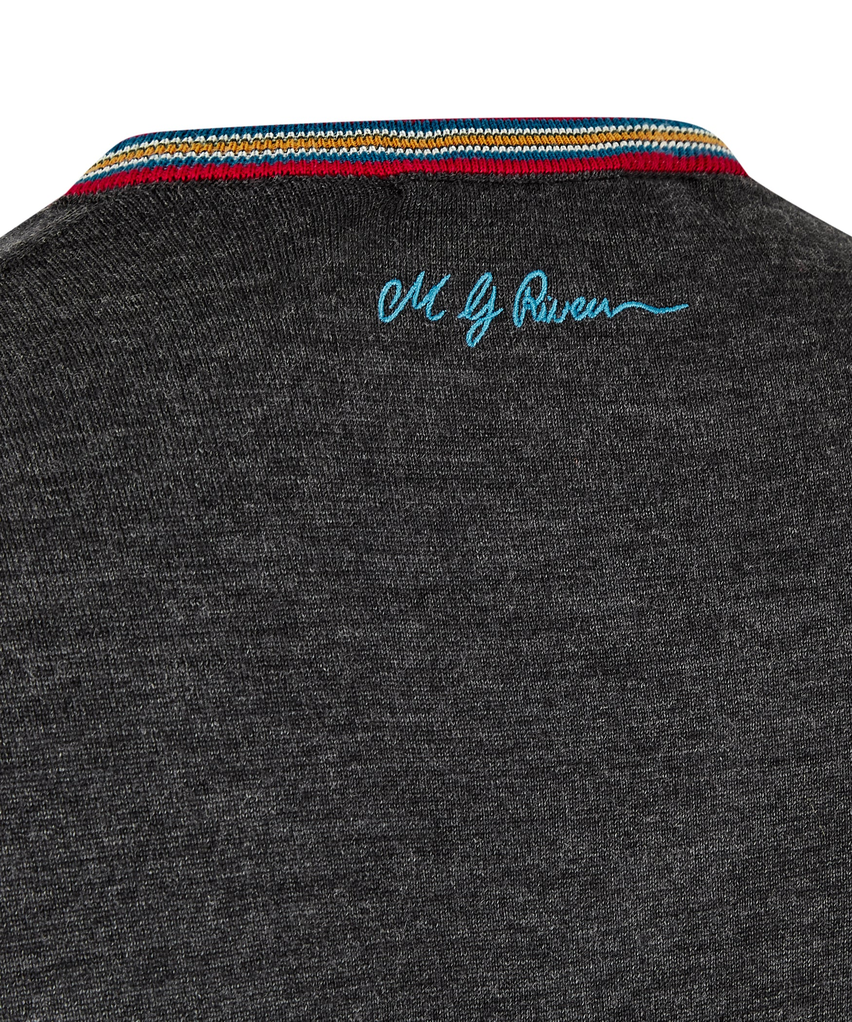 Slate Grey Extrafine Merino V-Neck Jumper