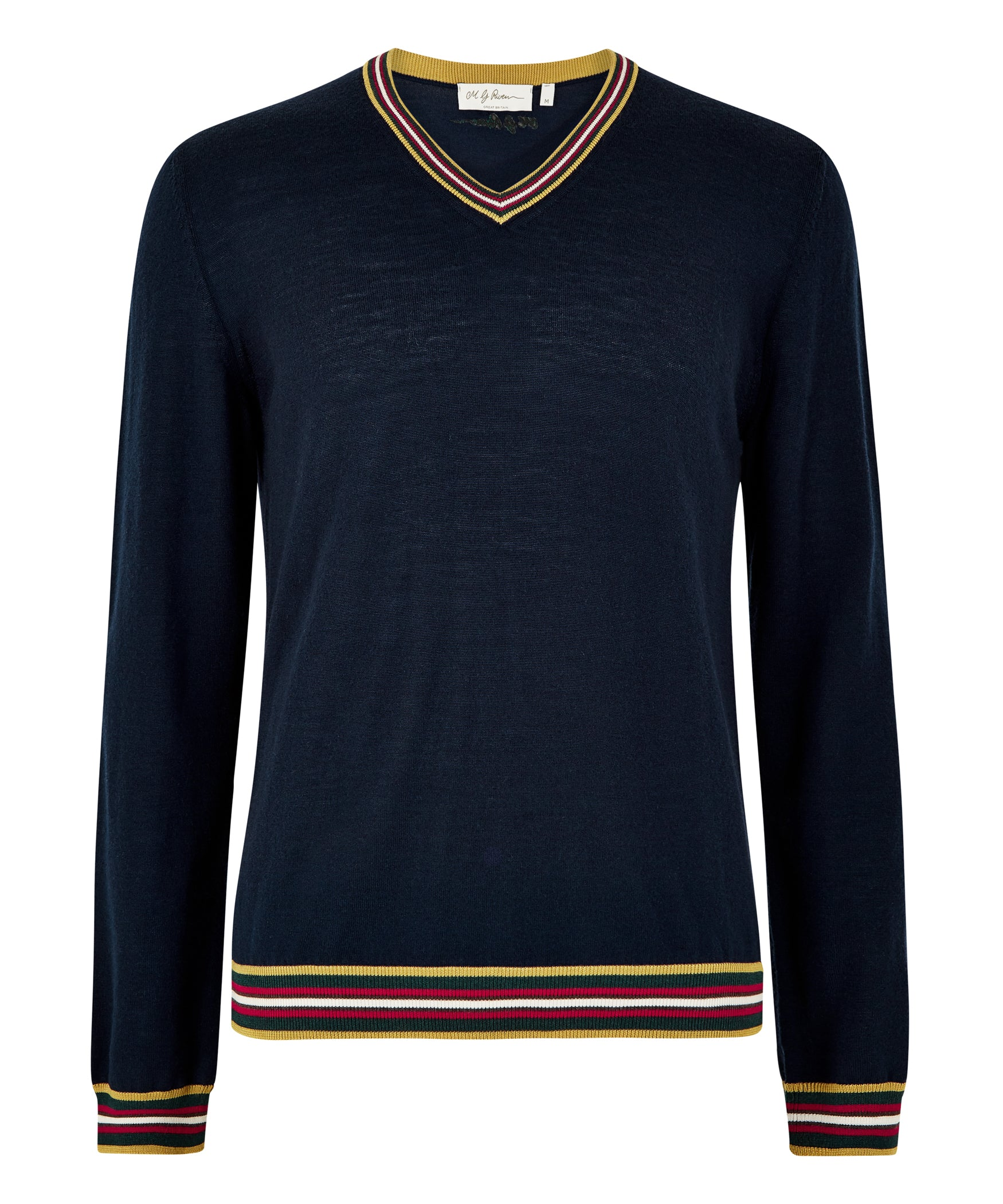 Navy Extrafine Merino V-Neck Jumper