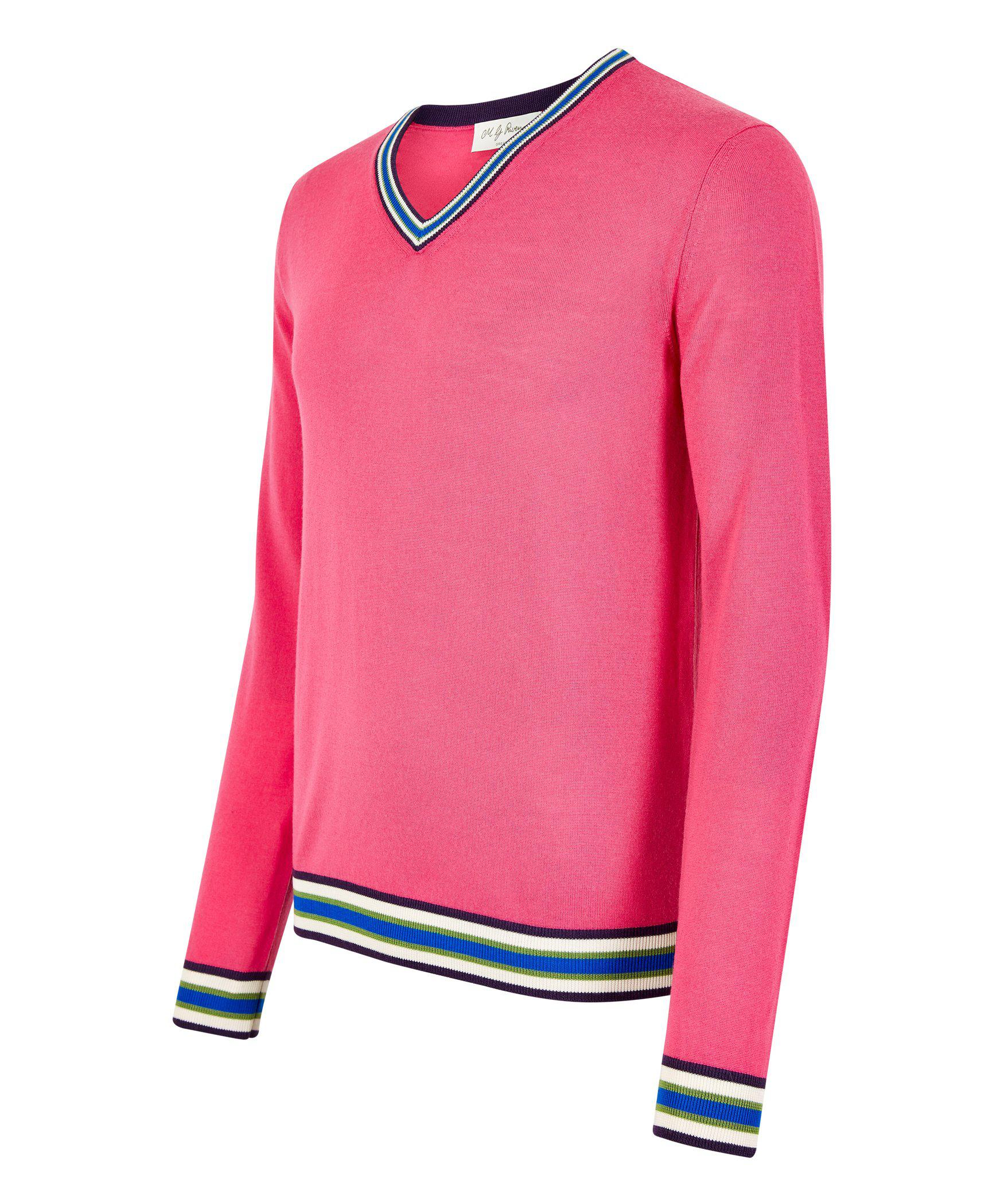 Fuchsia Pink Merino V-Neck Jumper - MG Rivers Jumpers