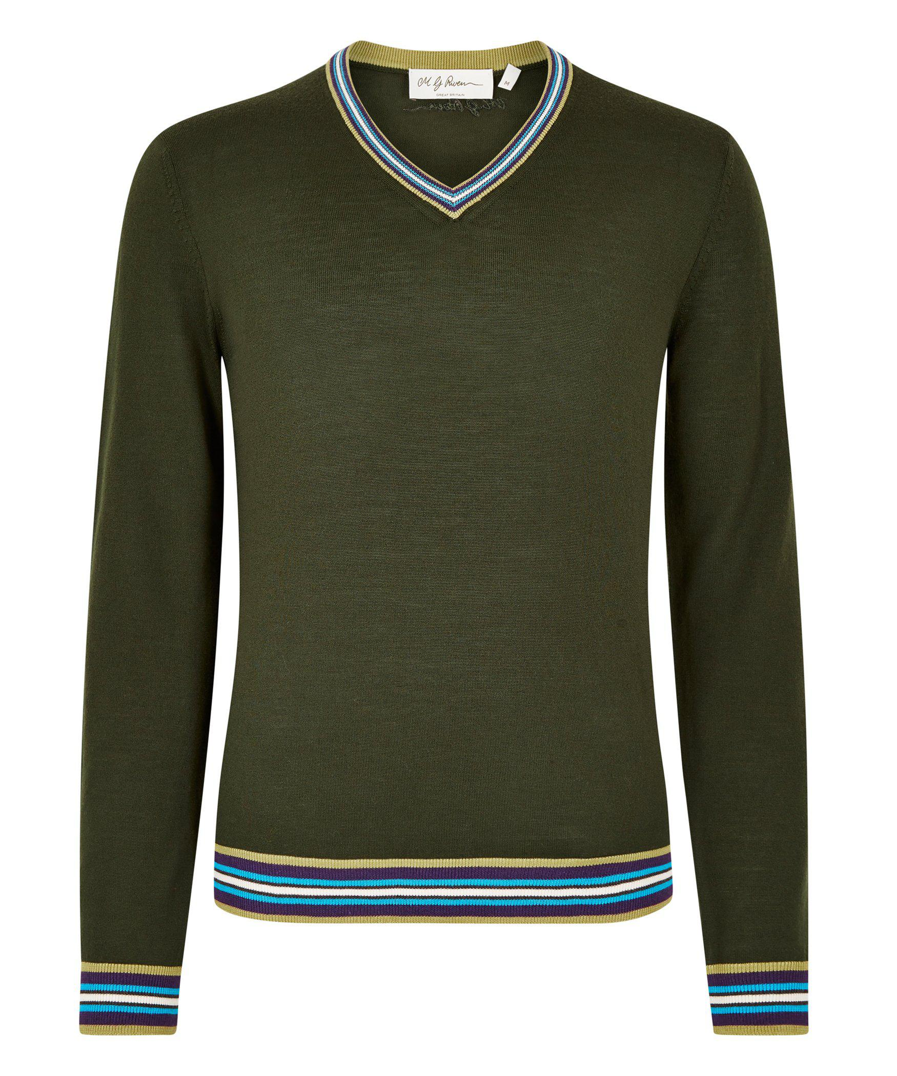 Olive Green Merino V-Neck Jumper - MG Rivers Jumpers