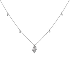 14k White Gold Small Hamsa Pendant Necklace