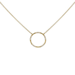 14k Yellow Gold Open Circle Pendant Necklace