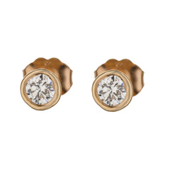 14k Rose Gold Bezel Martini Stud Earrings