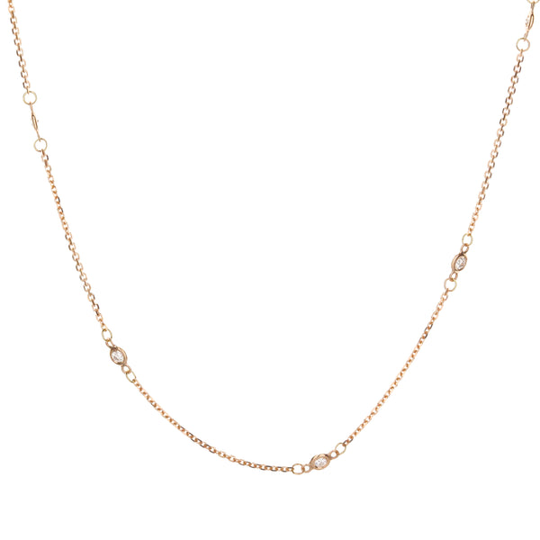 "18"" Diamond-by-the-Yard Necklace in 14k Rose Gold"
