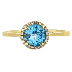 Blue Topaz And Diamond Halo Yellow Gold Ring