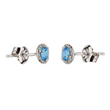 Blue Topaz Stud Earrings with Diamond Halo
