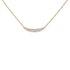 Crescent Shaped Pave Diamond Necklace in Yellow Gold