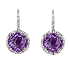 Amethyst Diamond Halo Huggie Drop Earrings in White Gold