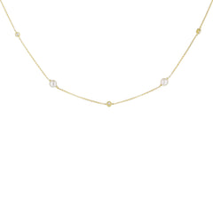 Pearl and Diamond Alternating Necklace in Yellow
