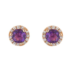 Amethyst Stud Earrings with Diamond Halo