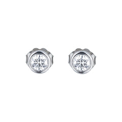 Bezel Set Diamond Martini Style Stud Earrings in White Gold