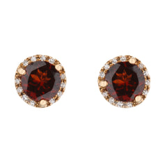 Garnet Stud Earrings with Diamond Halo in Rose Gold