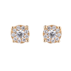 Square Shape Diamond Stud Earrings in Rose Gold