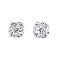 Square Shape Diamond Stud Earrings