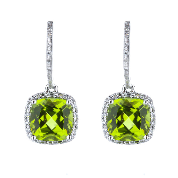 Peridot Diamond Halo Huggie Drop Earrings in White Gold